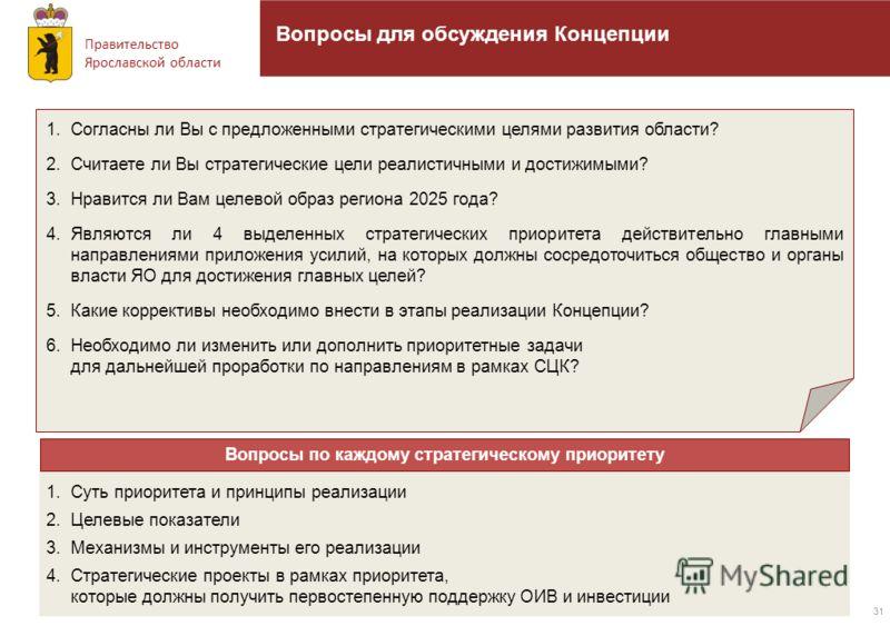 Правительство Ярославской области 31 Вопросы для обсуждения Концепции 1.Согласны ли Вы с предложенными стратегическими целями развития области? 2.Считаете ли Вы стратегические цели реалистичными и достижимыми? 3.Нравится ли Вам целевой образ региона