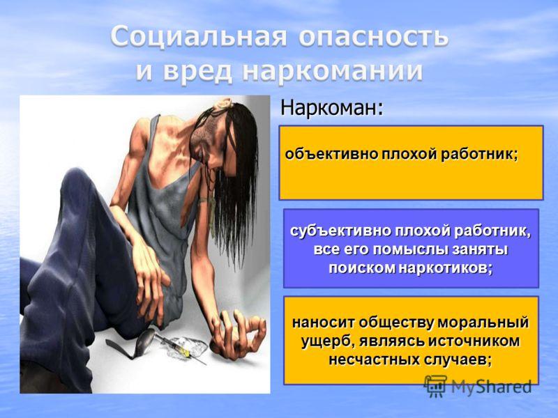 наносит обществу моральный ущерб, являясь источником несчастных случаев; субъективно плохой работник, все его помыслы заняты поиском наркотиков; объективно плохой работник; Наркоман: