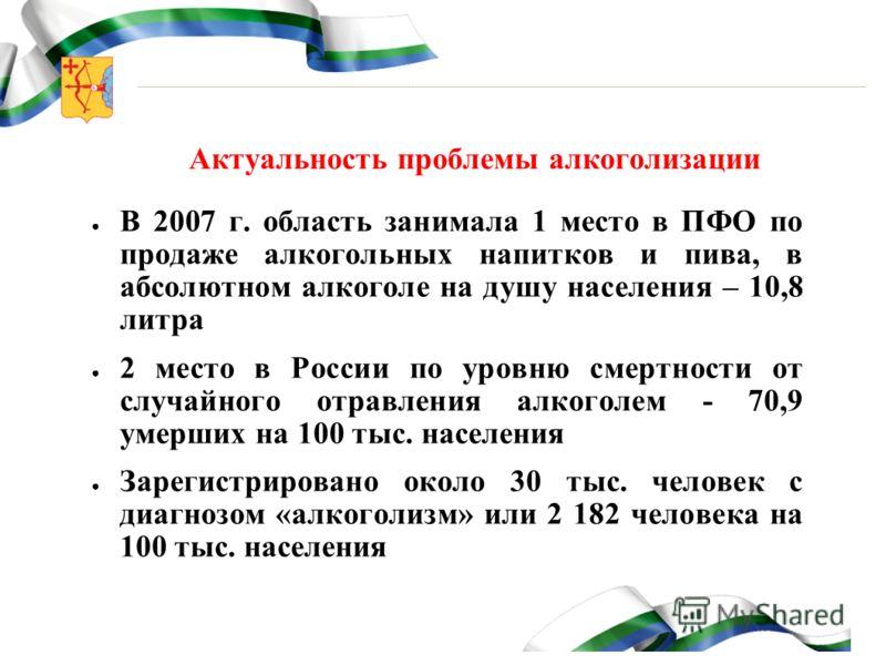 Актуальность проблемы алкоголизации В 2007 г. область занимала 1 место в ПФО по продаже алкогольных напитков и пива, в абсолютном алкоголе на душу населения – 10,8 литра 2 место в России по уровню смертности от случайного отравления алкоголем - 70,9
