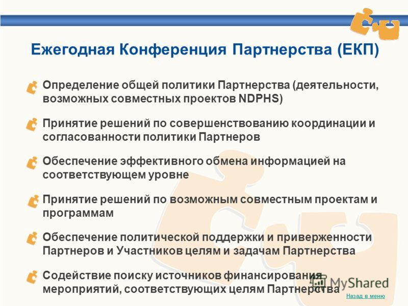 Определение общей политики Партнерства (деятельности, возможных совместных проектов NDPHS) Принятие решений по совершенствованию координации и согласованности политики Партнеров Обеспечение эффективного обмена информацией на соответствующем уровне Пр