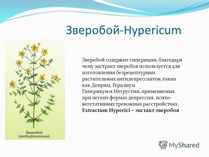 Зверобой-Hypericum Зверобой содержит гиперицин, благодаря чему экстракт зверобоя используется для изготовления безрецептурных растительных антидепрессантов, таких как Деприм, Гералиум Гиперикум и Негрустин, применяемых при легких формах депрессии, пс