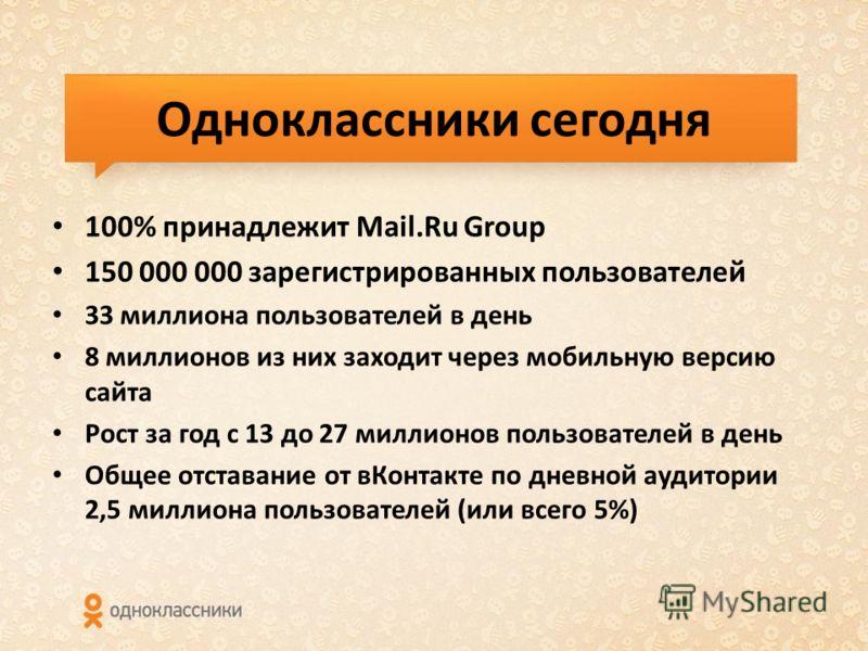 Одноклассники сегодня 100% принадлежит Mail.Ru Group 150 000 000 зарегистрированных пользователей 33 миллиона пользователей в день 8 миллионов из них заходит через мобильную версию сайта Рост за год с 13 до 27 миллионов пользователей в день Общее отс