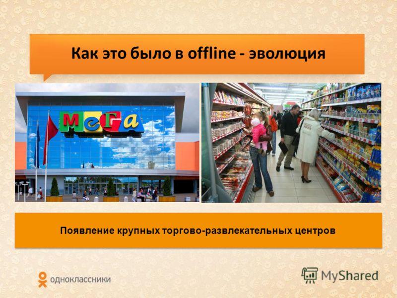 Как это было в offline - эволюция Появление крупных торгово-развлекательных центров