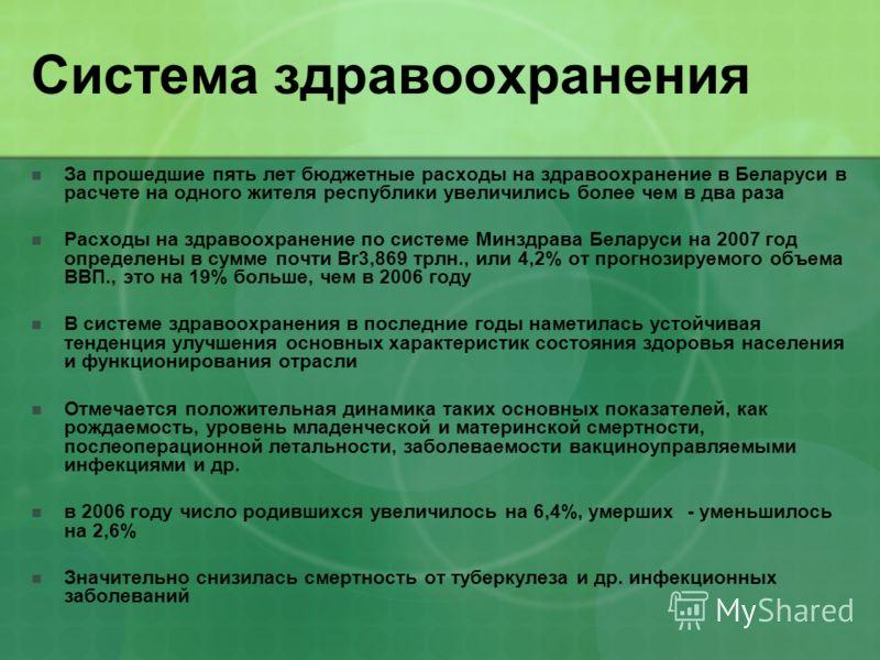 Система здравоохранения За прошедшие пять лет бюджетные расходы на здравоохранение в Беларуси в расчете на одного жителя республики увеличились более чем в два раза Расходы на здравоохранение по системе Минздрава Беларуси на 2007 год определены в сум