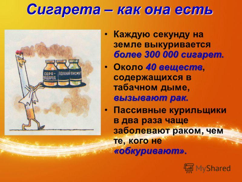 Сигарета – как она есть более 300 000 сигарет.Каждую секунду на земле выкуривается более 300 000 сигарет. 40 веществ вызывают рак.Около 40 веществ, содержащихся в табачном дыме, вызывают рак. «обкуривают».Пассивные курильщики в два раза чаще заболева