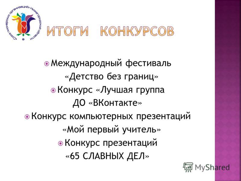 Международный фестиваль «Детство без границ» Конкурс «Лучшая группа ДО «ВКонтакте» Конкурс компьютерных презентаций «Мой первый учитель» Конкурс презентаций «65 СЛАВНЫХ ДЕЛ»