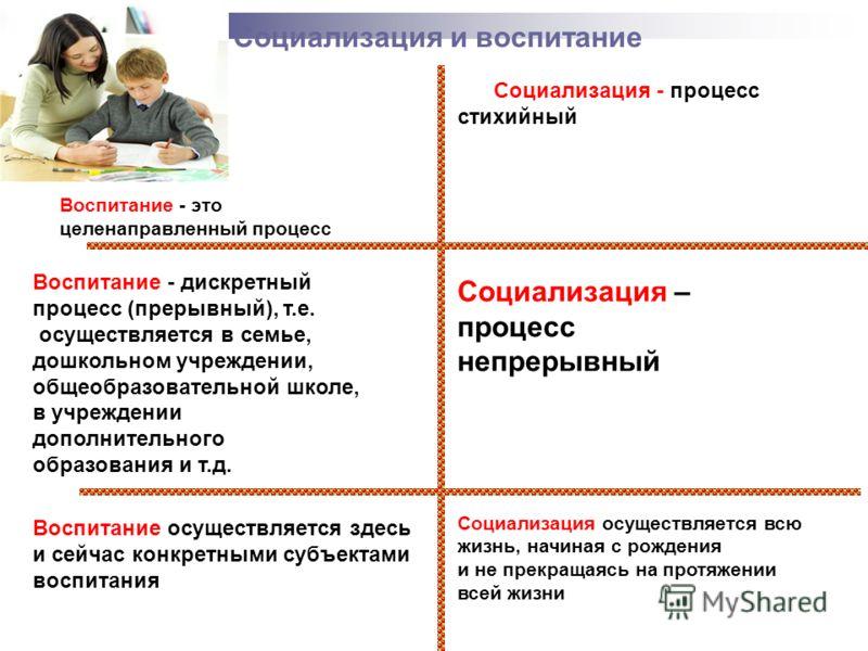 Социализация и воспитание Воспитание - это целенаправленный процесс Воспитание - дискретный процесс (прерывный), т.е. осуществляется в семье, дошкольном учреждении, общеобразовательной школе, в учреждении дополнительного образования и т.д. Воспитание