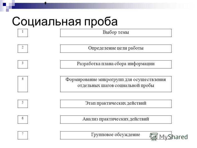 Социальная проба 1 Выбор темы 2 Определение цели работы 3 Разработка плана сбора информации 4 Формирование микрогрупп для осуществления отдельных шагов социальной пробы 5 Этап практических действий 6 Анализ практических действий 7 Групповое обсуждени