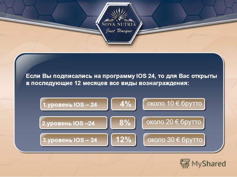 Если Вы подписались на программу IOS 24, то для Вас открыты в последующие 12 месяцев все виды вознаграждения: 1.уровень IOS – 24 4% около 10 брутто 2.уровень IOS –24 8% около 20 брутто 3.уровень IOS – 24 12% около 30 брутто