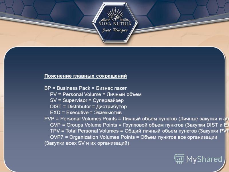 Пояснение главных сокращений BP = Business Pack = Бизнес пакет PV = Personal Volume = Личный объем SV = Supervisor = Супервайзер DIST = Distributor = Дистрибутор EXD = Executive = Экзекьютив PVP = Personal Volumes Points = Личный объем пунктов (Личны