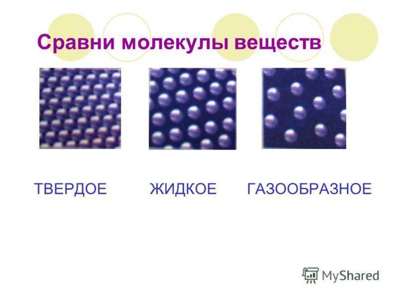 Сравни молекулы веществ ТВЕРДОЕ ЖИДКОЕ ГАЗООБРАЗНОЕ