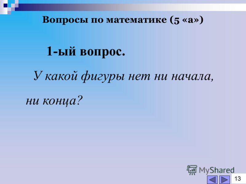 Вопросы по математике (5 «а») 1-ый вопрос. У какой фигуры нет ни начала, ни конца? 1313