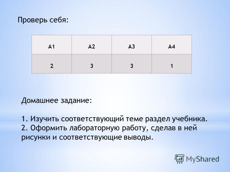 Домашнее задание: 1. Изучить соответствующий теме раздел учебника. 2. Оформить лабораторную работу, сделав в ней рисунки и соответствующие выводы. Проверь себя: А1А2А3А4 2331