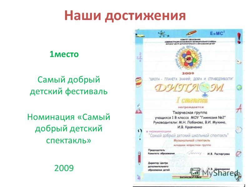 Наши достижения 1место Самый добрый детский фестиваль Номинация «Самый добрый детский спектакль» 2009