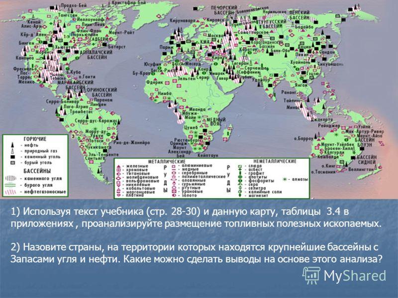 1) Используя текст учебника (стр. 28-30) и данную карту, таблицы 3.4 в приложениях, проанализируйте размещение топливных полезных ископаемых. 2) Назовите страны, на территории которых находятся крупнейшие бассейны с Запасами угля и нефти. Какие можно