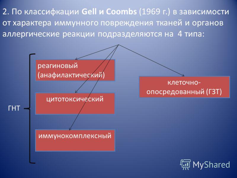 Классификация аллергических реакций гиперчувствительность немедленного типа гиперчувствительность замедленного типа 1. Согласно классификации, предложенной Cooke (1930 г.), по скорости и механизмам развития аллергические реакции подразделяются на 2 т
