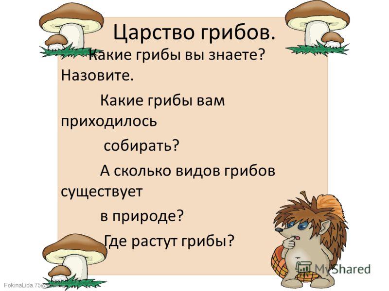 FokinaLida.75@mail.ru Царство грибов. Какие грибы вы знаете? Назовите. Какие грибы вам приходилось собирать? А сколько видов грибов существует в природе? Где растут грибы?
