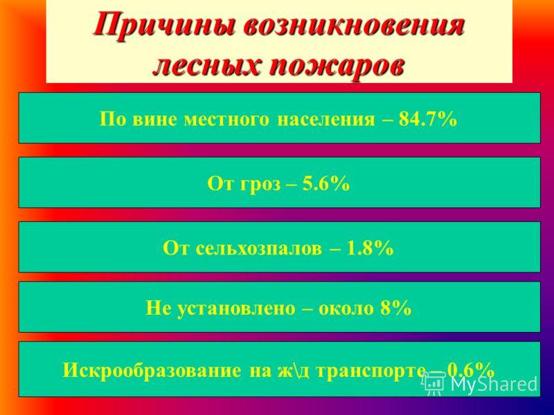 Причины возникновения лесных пожаров По вине местного населения – 84.7% От гроз – 5.6% От сельхозпалов – 1.8% Не установлено – около 8% Искрообразование на ж\д транспорте – 0.6%