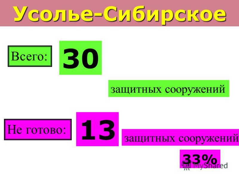 Усолье-Сибирское Всего: 30 защитных сооружений Не готово: 13 защитных сооружений 33%