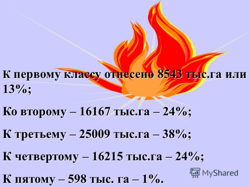 К первому классу отнесено 8543 тыс.га или 13%; Ко второму – 16167 тыс.га – 24%; К третьему – 25009 тыс.га – 38%; К четвертому – 16215 тыс.га – 24%; К пятому – 598 тыс. га – 1%.
