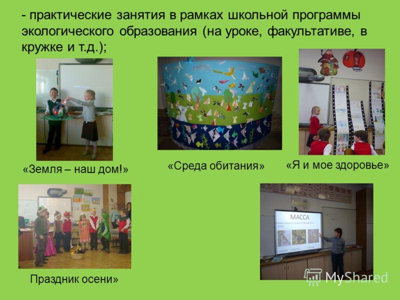 «Земля – наш дом!» «Среда обитания» «Я и мое здоровье» Праздник осени» - практические занятия в рамках школьной программы экологического образования (на уроке, факультативе, в кружке и т.д.);