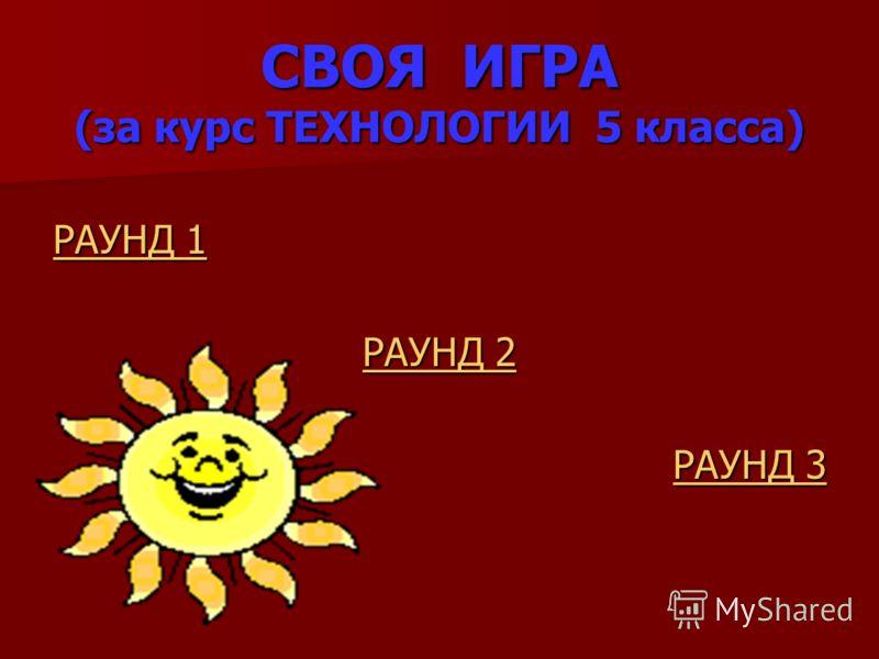 СВОЯ ИГРА (за курс ТЕХНОЛОГИИ 5 класса) РАУНД 1 РАУНД 1 РАУНД 2 РАУНД 2 РАУНД 3 РАУНД 3