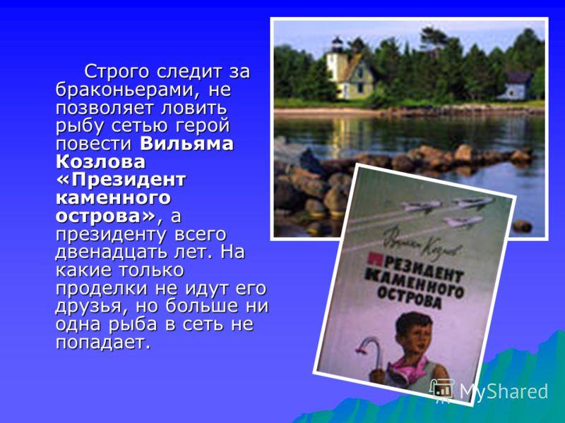 Строго следит за браконьерами, не позволяет ловить рыбу сетью герой повести Вильяма Козлова «Президент каменного острова», а президенту всего двенадцать лет. На какие только проделки не идут его друзья, но больше ни одна рыба в сеть не попадает.