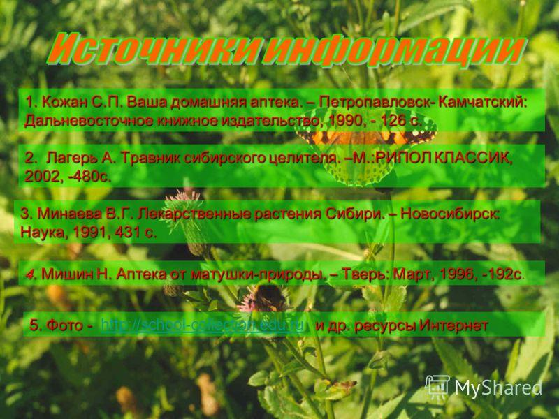 4. Мишин Н. Аптека от матушки-природы. – Тверь: Март, 1996, -192с 4. Мишин Н. Аптека от матушки-природы. – Тверь: Март, 1996, -192с. 2. Лагерь А. Травник сибирского целителя. –М.:РИПОЛ КЛАССИК, 2002, -480с. 1. Кожан С.П. Ваша домашняя аптека. – Петро