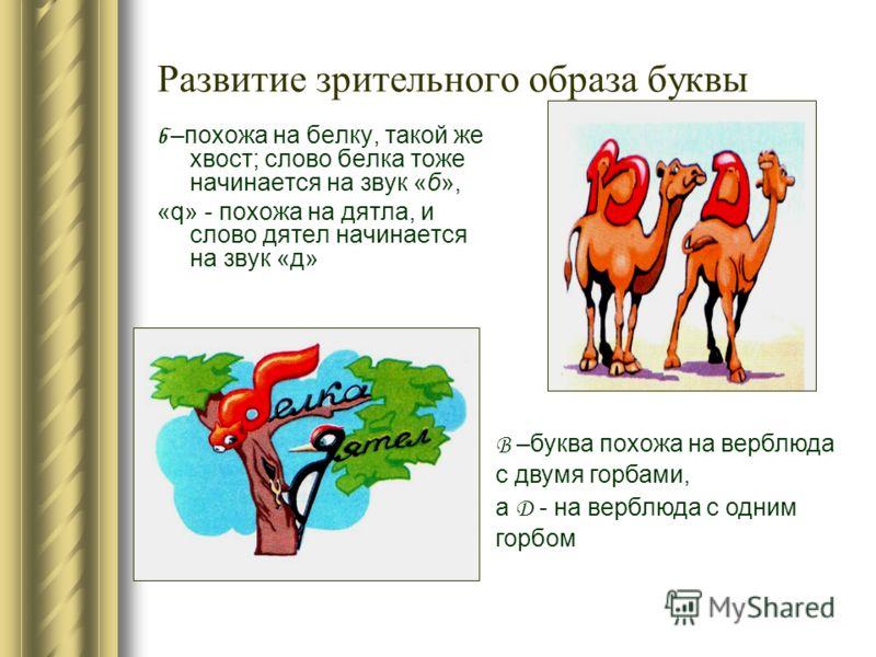 Развитие зрительного образа буквы б –похожа на белку, такой же хвост; слово белка тоже начинается на звук «б», «q» - похожа на дятла, и слово дятел начинается на звук «д» В –буква похожа на верблюда с двумя горбами, а Д - на верблюда с одним горбом