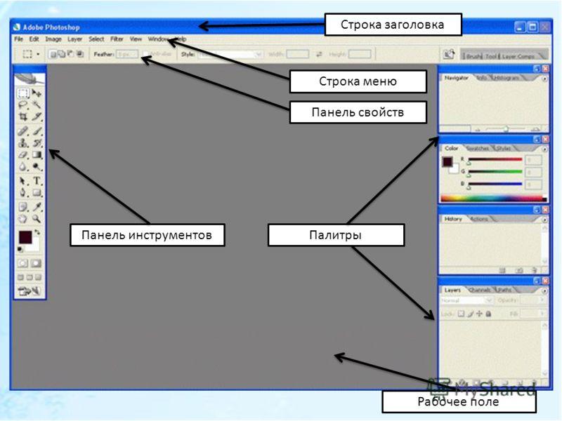 Строка заголовка Строка меню Панель свойств Панель инструментовПалитры Рабочее поле
