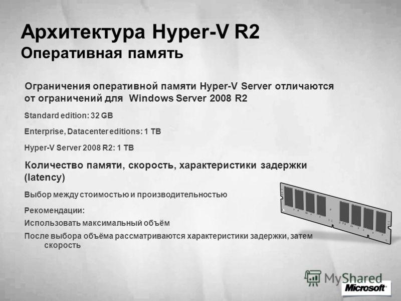 Архитектура Hyper-V R2 Оперативная память Ограничения оперативной памяти Hyper-V Server отличаются от ограничений для Windows Server 2008 R2 Standard edition: 32 GB Enterprise, Datacenter editions: 1 TB Hyper-V Server 2008 R2: 1 TB Количество памяти,