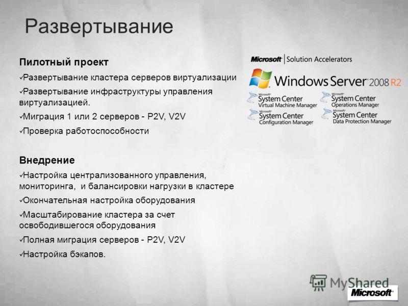 Развертывание Пилотный проект Развертывание кластера серверов виртуализации Развертывание инфраструктуры управления виртуализацией. Миграция 1 или 2 серверов - P2V, V2V Проверка работоспособности Внедрение Настройка централизованного управления, мони