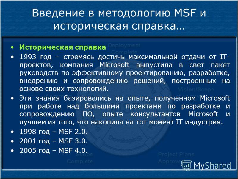 Введение в методологию MSF и историческая справка… Историческая справка 1993 год – стремясь достичь максимальной отдачи от IT- проектов, компания Microsoft выпустила в свет пакет руководств по эффективному проектированию, разработке, внедрению и сопр