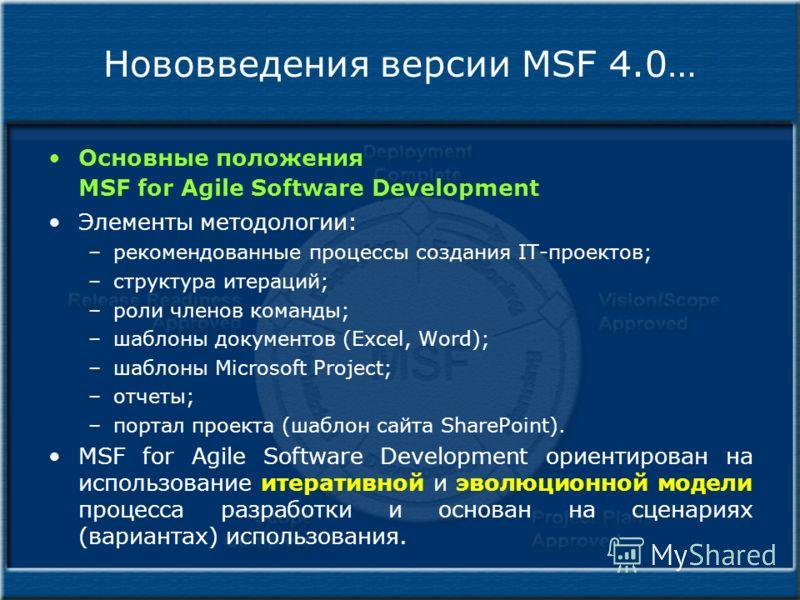Нововведения версии MSF 4.0… Основные положения MSF for Agile Software Development Элементы методологии: –рекомендованные процессы создания IT-проектов; –структура итераций; –роли членов команды; –шаблоны документов (Excel, Word); –шаблоны Microsoft