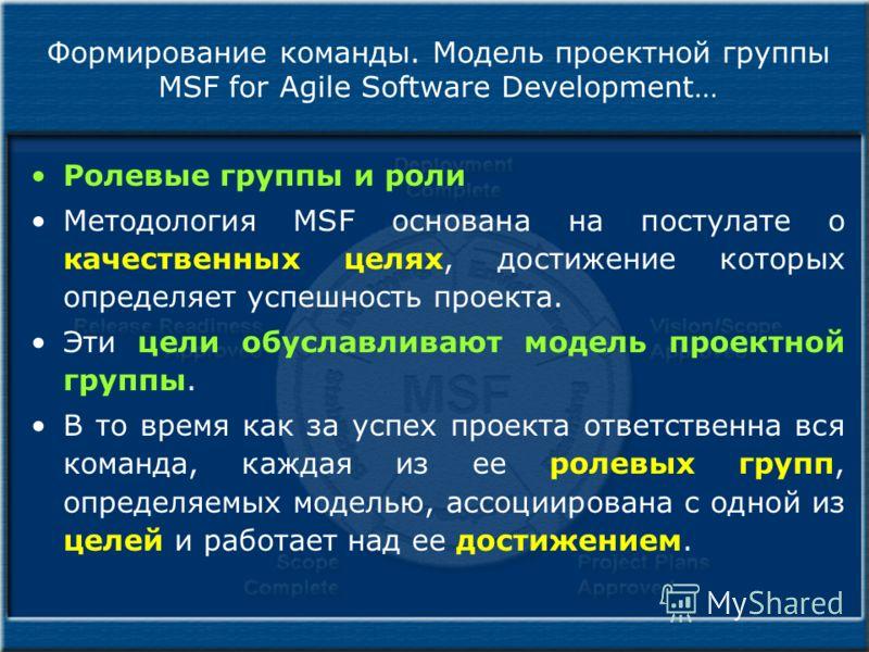 Формирование команды. Модель проектной группы MSF for Agile Software Development… Ролевые группы и роли Методология MSF основана на постулате о качественных целях, достижение которых определяет успешность проекта. Эти цели обуславливают модель проект
