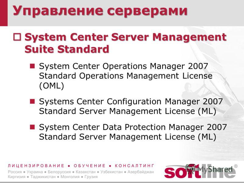 Управление серверами System Center Server Management Suite Standard System Center Server Management Suite Standard System Center Operations Manager 2007 Standard Operations Management License (OML) Systems Center Configuration Manager 2007 Standard S
