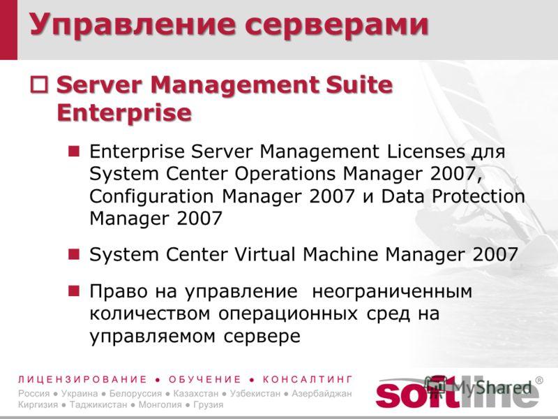 Управление серверами Server Management Suite Enterprise Server Management Suite Enterprise Enterprise Server Management Licenses для System Center Operations Manager 2007, Configuration Manager 2007 и Data Protection Manager 2007 System Center Virtua