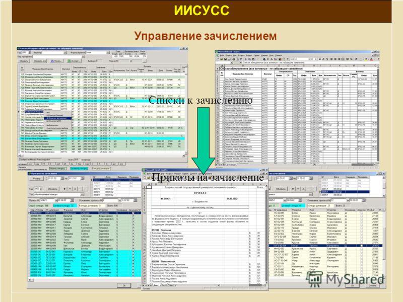 ИИСУСС Управление зачислением Списки к зачислению Приказы на зачисление
