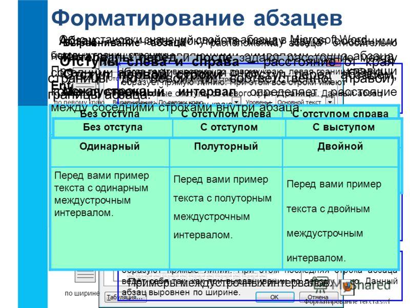 Форматирование абзацев Абзац - это часть документа между двумя соседними непечатаемыми управляющими символами конца абзаца. Процесс ввода абзаца заканчивается нажатием клавиши Enter. Свойства абзаца Выравнивание Отступ первой строки Междустрочный инт