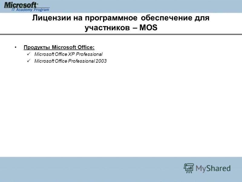 Лицензии на программное обеспечение для участников – MOS Продукты Microsoft Office: Microsoft Office XP Professional Microsoft Office Professional 2003