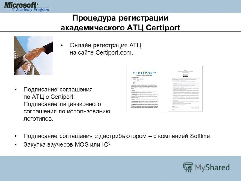 Процедура регистрации академического АТЦ Certiport Подписание соглашения по АТЦ с Certiport. Подписание лицензионного соглашения по использованию логотипов. Подписание соглашения с дистрибьютором – с компанией Softline. Закупка ваучеров MOS или IC 3