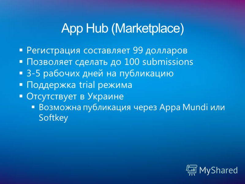 App Hub (Marketplace) Регистрация составляет 99 долларов Позволяет сделать до 100 submissions 3-5 рабочих дней на публикацию Поддержка trial режима Отсутствует в Украине Возможна публикация через Appa Mundi или Softkey