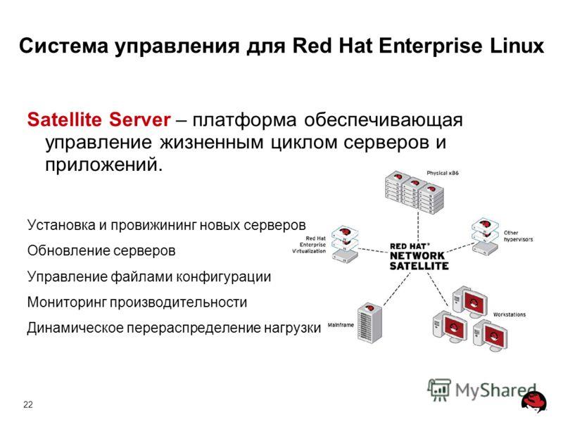 22 Система управления для Red Hat Enterprise Linux Satellite Server – платформа обеспечивающая управление жизненным циклом серверов и приложений. Установка и провижининг новых серверов Обновление серверов Управление файлами конфигурации Мониторинг пр