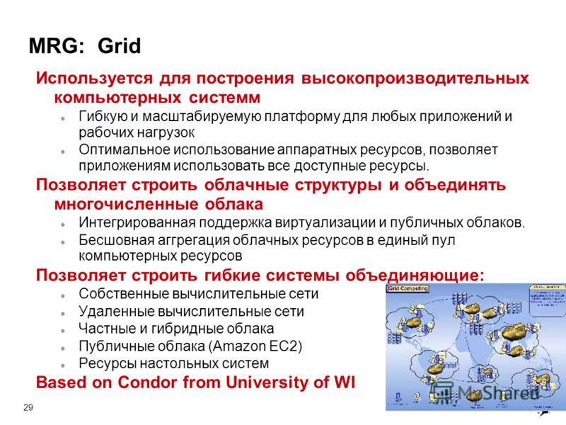 29 MRG: Grid Используется для построения высокопроизводительных компьютерных системм Гибкую и масштабируемую платформу для любых приложений и рабочих нагрузок Оптимальное использование аппаратных ресурсов, позволяет приложениям использовать все досту