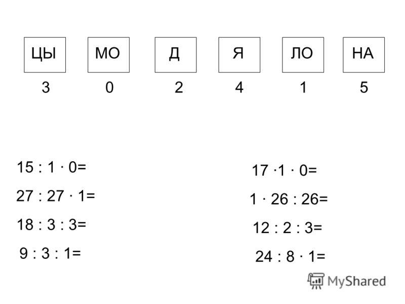 ЦЫМОДЯЛОНА 302415 15 : 1 · 0= 27 : 27 · 1= 18 : 3 : 3= 9 : 3 : 1= 17 ·1 · 0= 1 · 26 : 26= 12 : 2 : 3= 24 : 8 · 1=