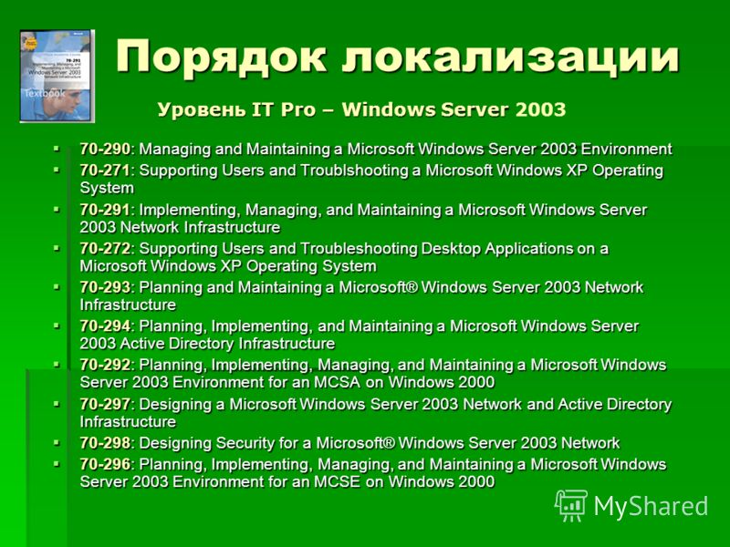 Порядок локализации 70-290: Managing and Maintaining a Microsoft Windows Server 2003 Environment 70-290: Managing and Maintaining a Microsoft Windows Server 2003 Environment 70-271: Supporting Users and Troublshooting a Microsoft Windows XP Operating