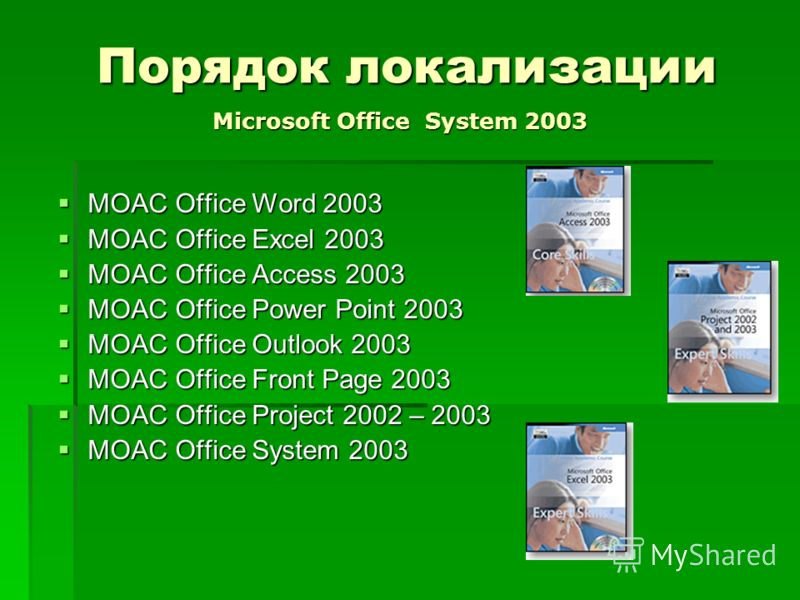 Порядок локализации MOAC Office Word 2003 MOAC Office Word 2003 MOAC Office Excel 2003 MOAC Office Excel 2003 MOAC Office Access 2003 MOAC Office Access 2003 MOAC Office Power Point 2003 MOAC Office Power Point 2003 MOAC Office Outlook 2003 MOAC Offi