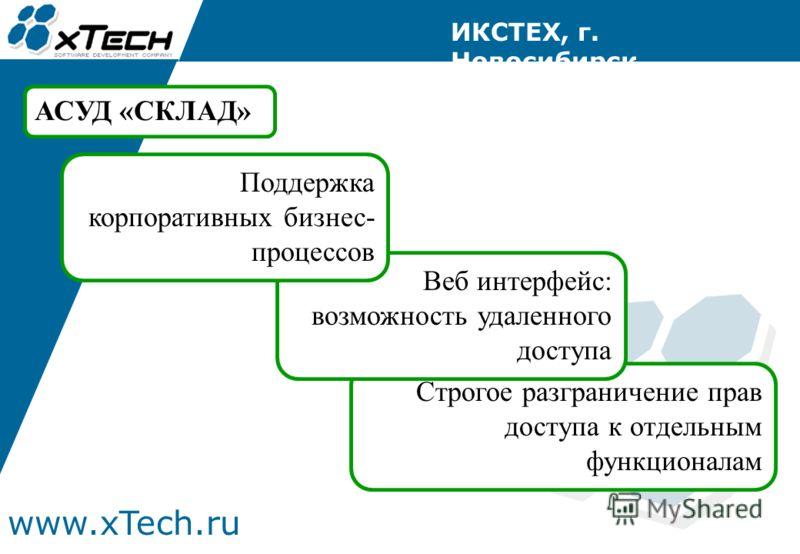www.xTech.ru ИКСТЕХ, г. Новосибирск АСУД «СКЛАД» Строгое разграничение прав доступа к отдельным функционалам Веб интерфейс: возможность удаленного доступа Поддержка корпоративных бизнес- процессов
