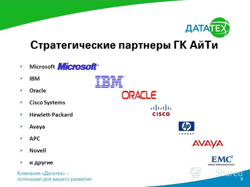 Компания «Дататех» – потенциал для вашего развития 9 Стратегические партнеры ГК АйТи Microsoft IBM Oracle Cisco Systems Hewlett-Packard Avaya APC Novell и другие
