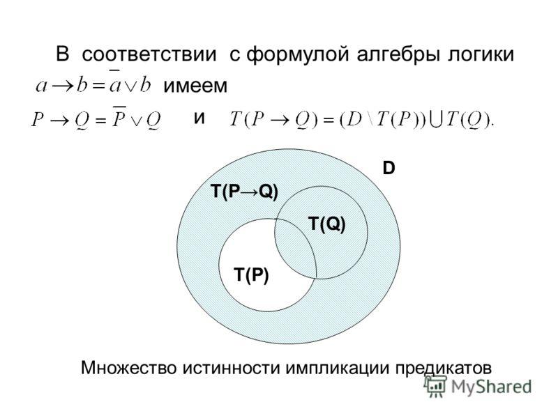 В соответствии с формулой алгебры логики имеем и Т(Р) Т(Q) Т(PQ) D Множество истинности импликации предикатов